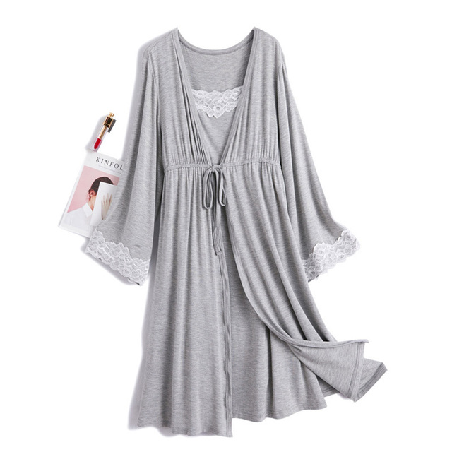 Maternity Pajamas Nursing Pajama Maternity Robe Set Robe Maternity Sleepwear Camison Lactancia Maternity Pyjama Robe & Gown Set