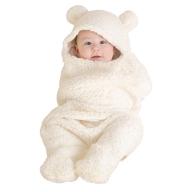 Toddler Baby Autumn Winter Sleeping Bag Sleeping Bag Baby Newborn Coral Fleece Leg Warmer Plus Velvet Warm Soft