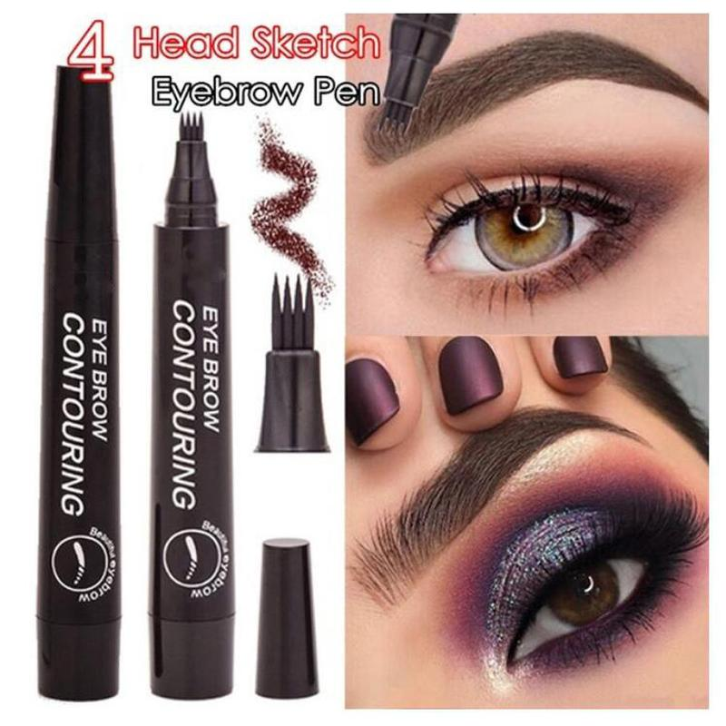 Microblading Eyebrow Pencil Tint 5 Colors Paint Makeup Eyebrows 4 Tip Liquid Brow Tattoo Pen Waterproof Cosmetic Eye brow Liner