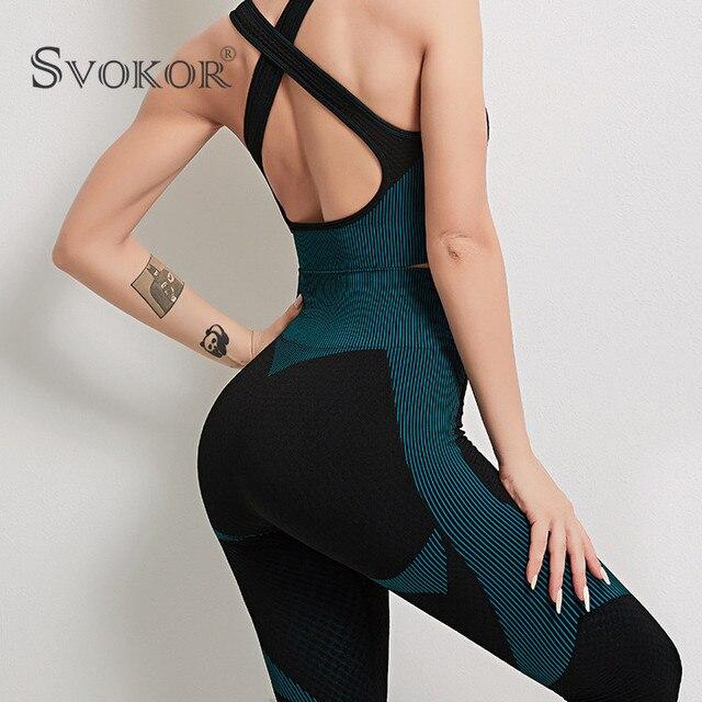 SVOKOR Spring Seamless Workout Leggings Sets Women High Waist Push Up Perfect Fit Leggings Print Gym New 1