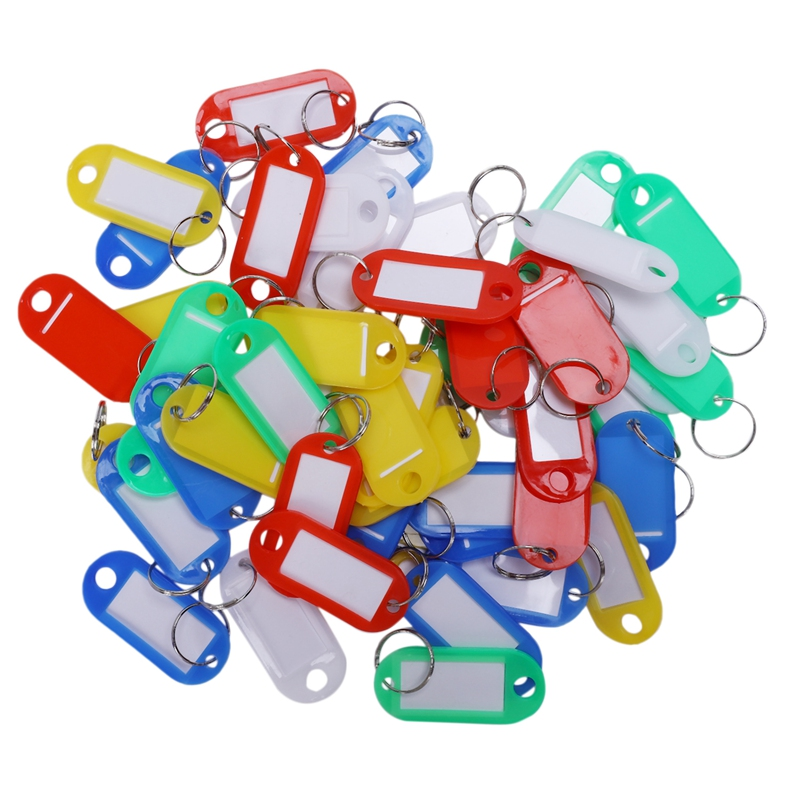 HOT-50 Pcs Colorful Key ID Label Tags Split Ring Keyring Keychain