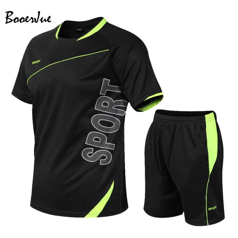 קיץ ספורט חליפת גברים של סטי T חולצות + מכנסיים קצרים שתי חתיכות סטי מזדמן אימונית O-צוואר מוצק ספורט טרנינג אימונית גברים