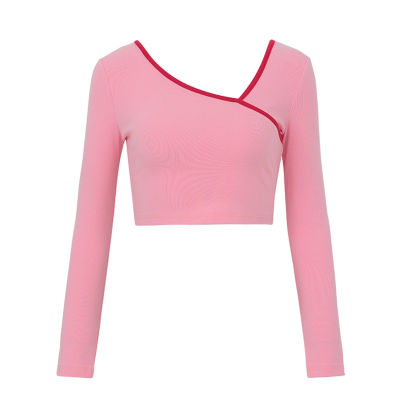 Autumn Winter Stitching Color Short T-<font><b>shirt</b></font> Slim Irregular Collar Long Sleeve T <font><b>Shirt</b></font> Women <font><b>Sexy</b></font> Exposure <font><b>Belly</b></font> Bottoming <font><b>Shirt</b></font> image