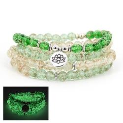 Glow in the dark bracelet 108 suitcase Luminous glass beads bracelets with lotus, buddha, charms female male meditation jewelry
