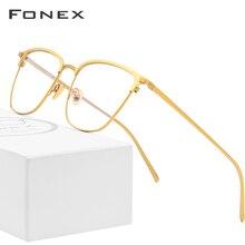 FONEX Pure B Titanium Glasses Frame Men Square Prescription Eyeglasses Eyewear Vintage Myopia Optical Eye for 866