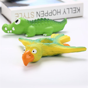 Funny Bird Crocodile Pattern Design Latex Chew Dog Toy Animal Pet Squeak Toys Wear-resistant And Bite-resistant Pet Molar Toy