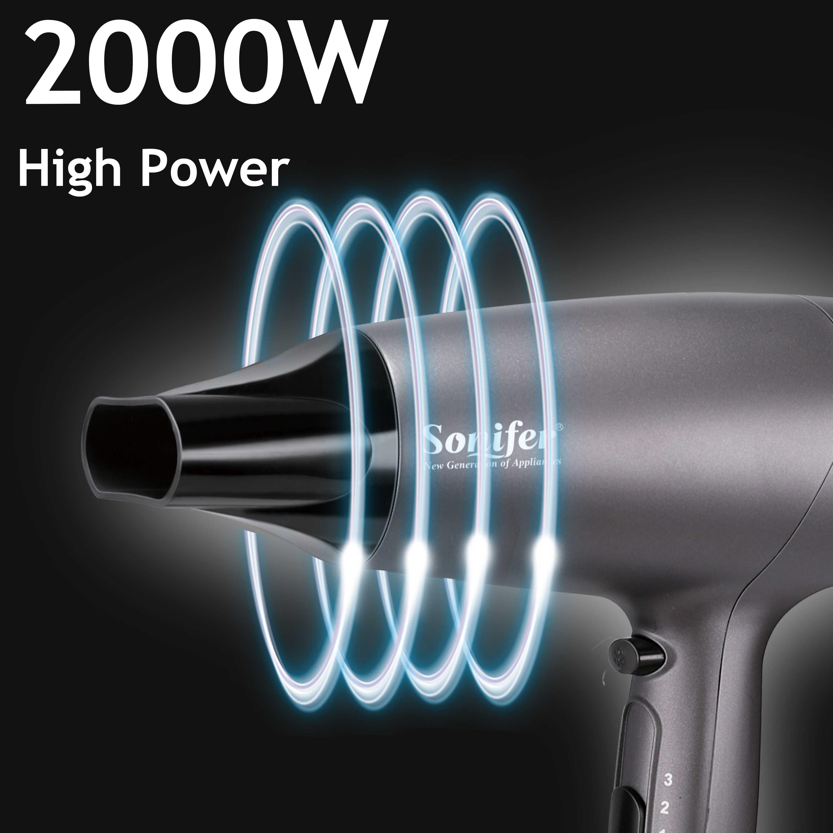 Profesional 2000W Pengering Rambut Sikat untuk Hairdressing Salon Tukang Cukur Alat Listrik Rendah Dryer Angin Salon Peralatan Sonifer