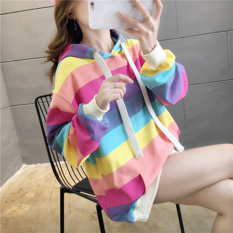 Harajuku Rainbow Stripe Hoodies Women Sweatshirt Loose Pullover For Sweet Girls Pastel Fahion Pink Clothing Cute Japan Hoodies