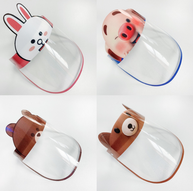 Cartoon Safety Face Shield Clear Full Face Mask Reusable Breathable Anti-Saliva Protective Hat Windproof Dustproof Shield 5