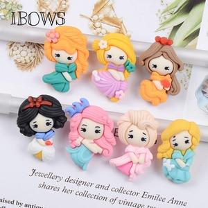 IBOWS 20Pcs Cartoon Little Girl Resin Decoration Crafts Flatback Cabochon Scrapbooking Fit Phone Embellishments DIY Accessories