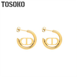 TOSOKO Stainless Steel Jewelry Double D Pig Nose Earrings Women Autumn And Winter Fashion Earrings BSF348
