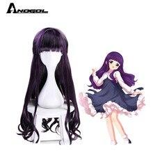 Anogol Brand New Card Captor Sakura Daidouji Tomoyo Perucas Ondulata Lunga Viola Cosplay Sintetica Parrucche Per Le Ragazze Del Partito di Halloween