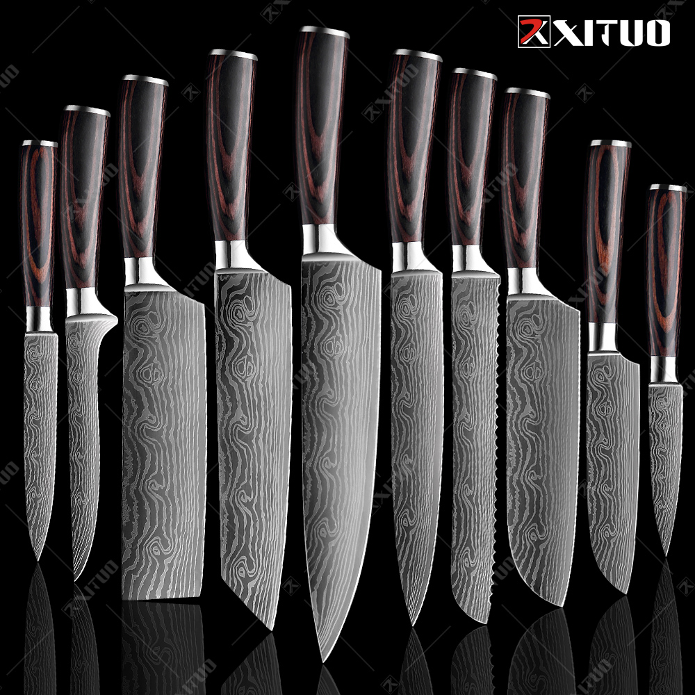 XITUO Kitchen Knives set 1-10PCS Chef knife High Carbon Stainless Steel Santoku knife Sharp Cleaver Slicing Knife Best Choice