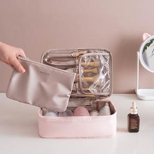 Travel Cosmetic Bag Beautician Make up Bag Quick Makeup Bag Purse Toiletry Bag Organizer Pink Makeup Pouch Waterproof Handbag(China)