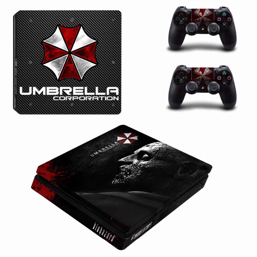 Biohazard Umbrella PS4 Slim Stickers Play station 4 Skin Sticker Decals For PlayStation 4 PS4 Slim Console & Controller Skins