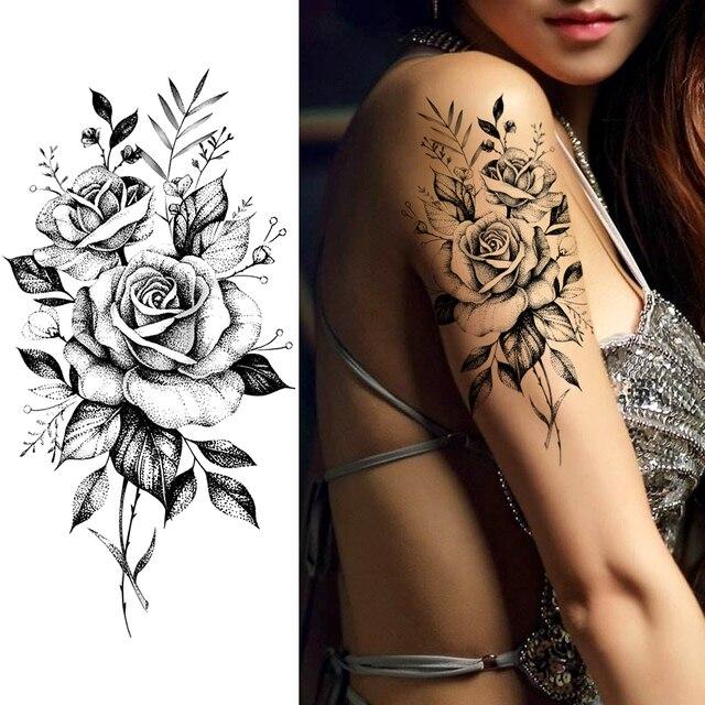 Purple Rose Jewelry Water Transfer Tattoo Stickers Women Body Chest Art Temporary Tattoo Girl Waist Bracelet Flash Tatoos Flower 1