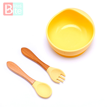 Tableware Silicone Plate-Dish Spill-Proof-Suction Bowl Spoon Rotating-Bowl Feeding-Set