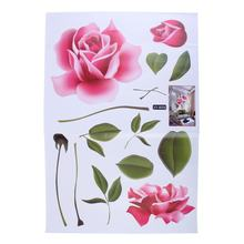 2017 New Arrical Stickers Decoratifs Maison Romantic Love Rose Flower Removable 3D Wall Stickers Home Decor Room Decals(China)