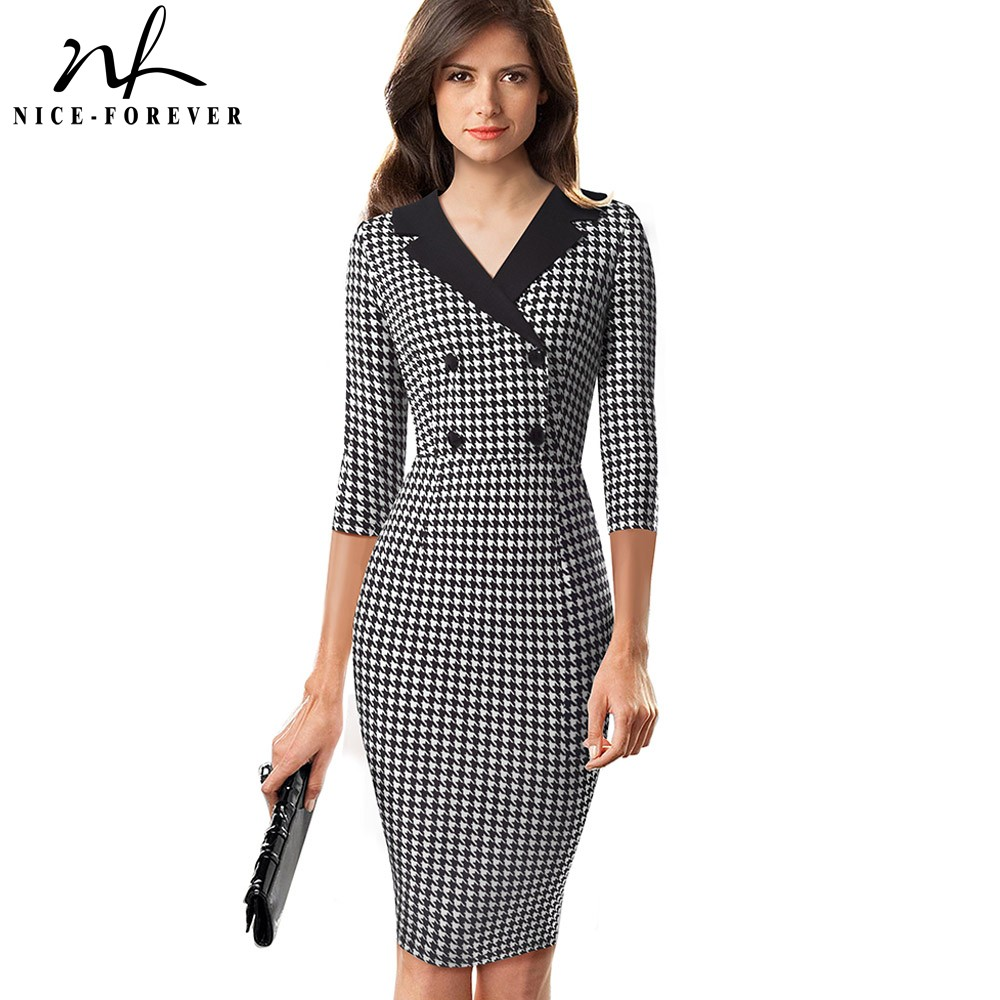 Nice-forever Vintage Houndstooth Patchwork Office Work Vestidos With Button Business Party Women Bodycon Dress B570