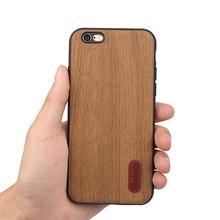 Funda de teléfono de diseño de madera carcasa para iPhone 6 6S Material de silicona TPU suave con PC con cubiertas protectoras de piel de PU de madera