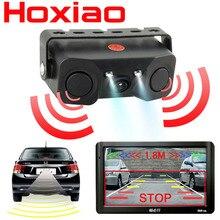Cámara de visión trasera de coche, luz LED de visión nocturna, cámara de visión trasera de alta definición con sensor de Radar de marcha atrás, detector