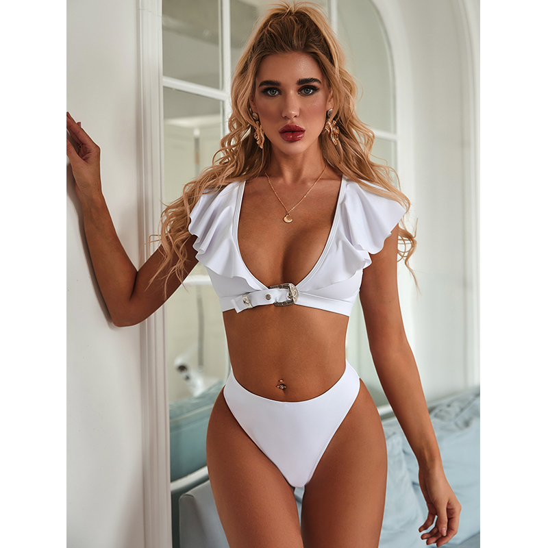 Deep V Bikini Set 2020 Ruffle Swimwear Women Swimsuit Solid Bikini Off The Shoulder Bathing Suit Summer Beach Wear Swimming Suit