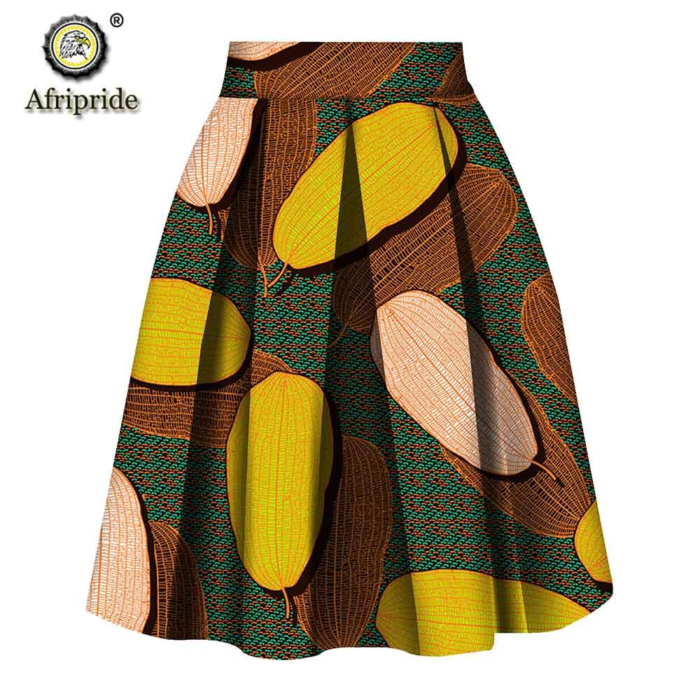 2019 Women Clothes AFRIPRIDE Private Custom Skirt Pure Cotton Ankara Print Dashiki Bazin Riche Casual Skirt For Women S1827008