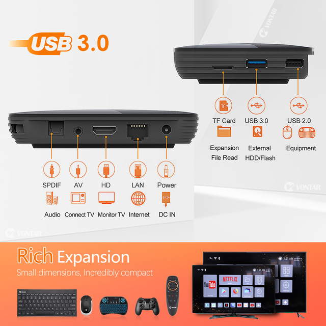 2020 VONTAR X3 4GB 128GB 8K TVBOX Amlogic S905X3 Smart TV BOX Android 9.0 Wifi 1080P 4K Android TV Set Top Box 4GB 64GB 32GB 4
