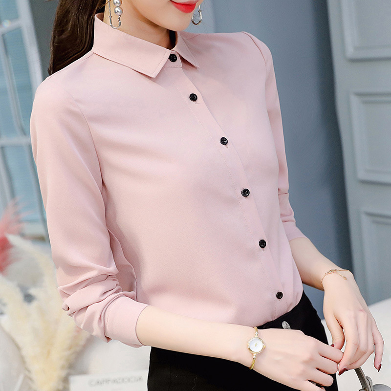 Chiffon Blouse Women Slim Fit Office Shirt Spring Summer Female Fashion Work Casual Turn-down Long Sleeve Collar Tops