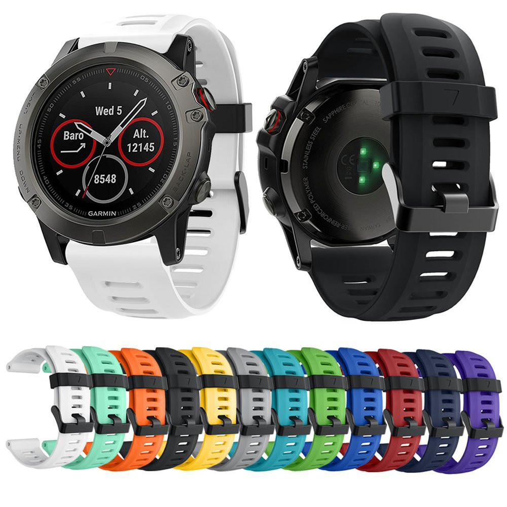 Yayuu Soft Silicone Replacement Watch Band with Tools for Garmin Fenix 3/Fenix 3 HR/Fenix 5X/5X Plus/D2 Delta PX/Descent MK1-in Smart Accessories from Consumer Electronics