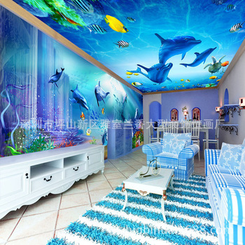 3D Dreamy Blue Submarine Dolphin Bay World Theme Pavilion Space Wall Wallpaper Hotel Mural