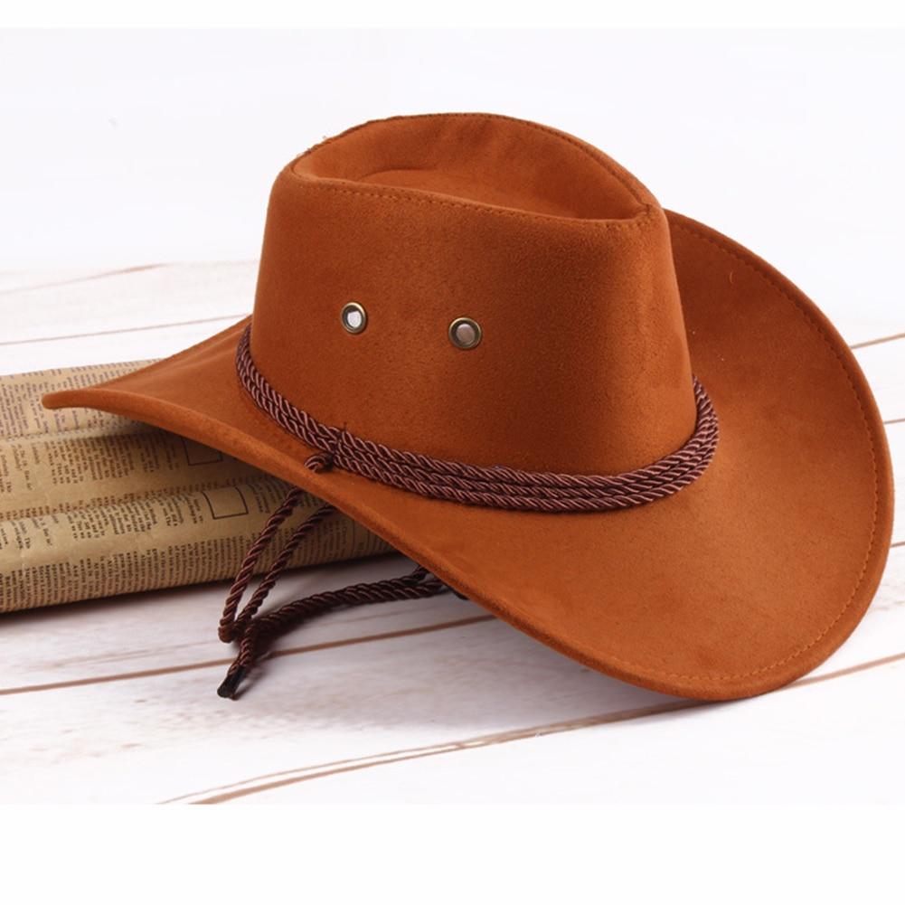 Western Cowboy Hat Women Men Fashion Wide Casual Artificial Leather Sun Shield Hat 7 Colors Solid Color Cap