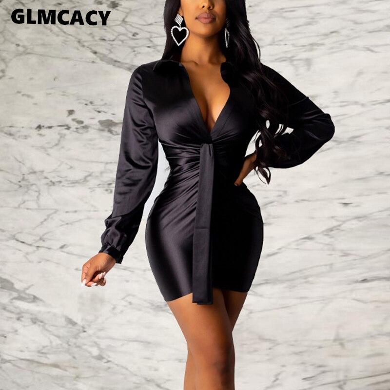 Women Long Sleeve V Neck Bodycon Mini Dress Satin Solid Short Dress Sexy Evening Party Club Vestidos
