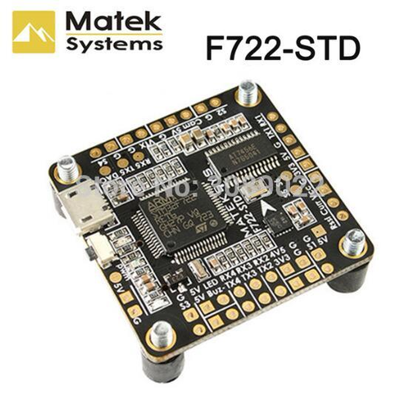 Matek Systems F722-STD F7 Flight Controller Features STM32F722RE, <font><b>ICM20602</b></font>, BMP280,BFOSD, Blackbox Micro SD Card Slot ESC image