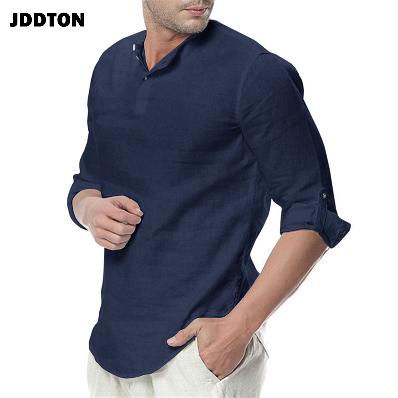 JDDTON New Men's Long Sleeve Shirts Cotton Linen Casual Breathable Comfort Shirt Fashion Style Solid Male Loose Streetwear JE065 5