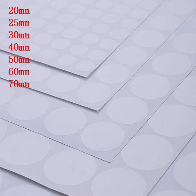 20/25/30/40/50/60/70mm Round/Circular Blank Transparent Waterproof Seal Sticker Clear PVC Label without Printing