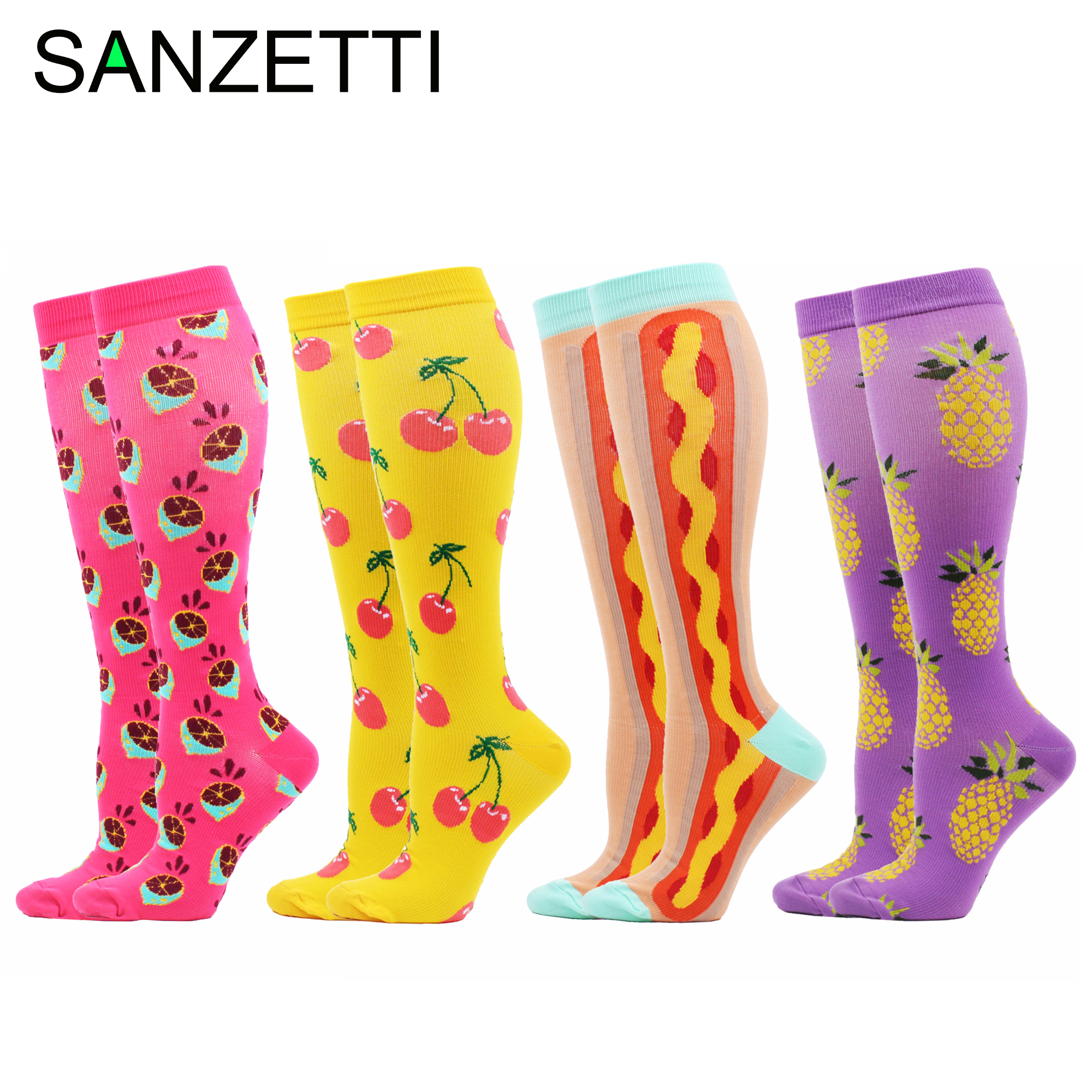 SANZETTI 4 Pairs/Lot Women Casual Pattern Combed Cotton Compression Socks Below Knee Anti-Fatigue Long Colorful Fruit Socks
