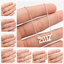 Fashion Unique Commemorating Year Number Stainless Steel Necklace for Women Girls 1990 1991 1992 1993 1994 2019 Collar