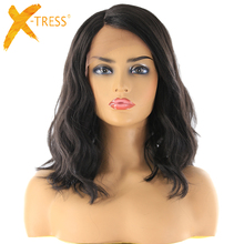 X-TRESS Lace Front Synthetic Hair Wigs Black Color Shoulder Length Deep Invisibl