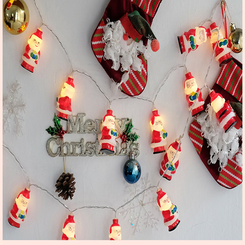 Christmas Snowman Santa Claus Red Socks Style Fairy String Light Wall Window Garden Decoration Party DIY Flexible String Lamp