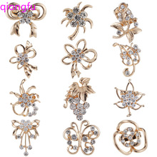 Crystal Bow Brooch Flower Pin Womens Decoration Fashion Jewelry Plant