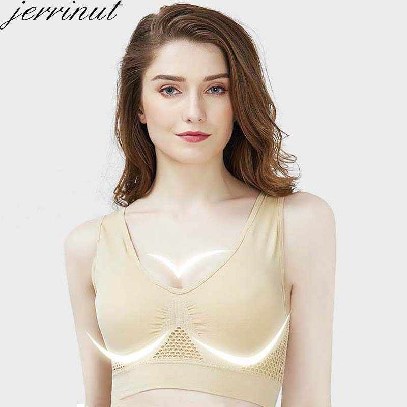 Jerrinut חזיות לנשים בתוספת גודל חלקה חזיית כותנה לנשימה תחתונים אלחוטי עם רפידות לדחוף את חזייה בתוספת גודל 5XL 6XL