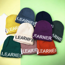 2019 autumn and winter new children's knitted wool hat candy color letter labeling set fashion cute bonnet(China)