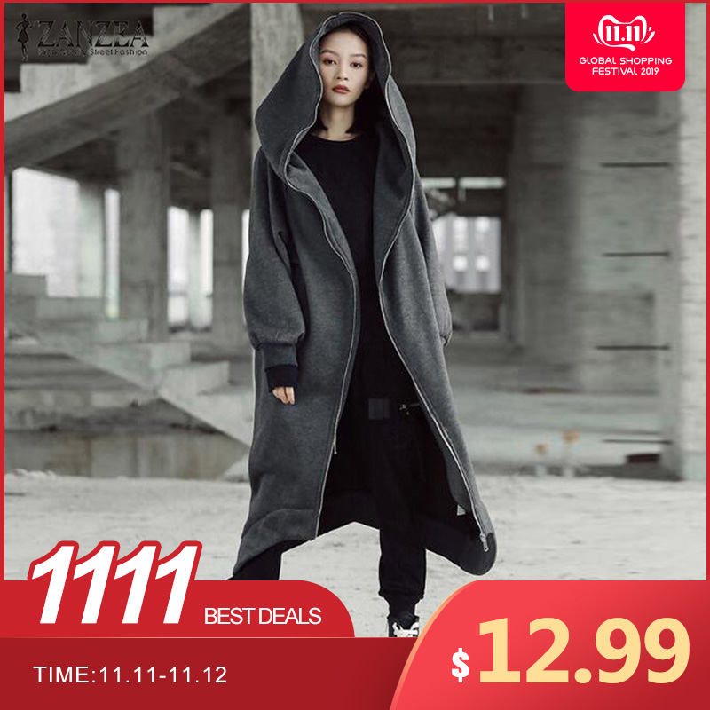 2019 zanzea inverno hoodies moletom feminino com capuz zip manga longa velo irregular namorado bolsos casaco longo jaqueta plus size