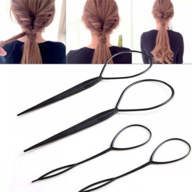 4pcs/set Ponytail Creator Plastic Loop Styling Tools Black Topsy Tail Clip Hair Braid Ponytail Maker Styling Tools image