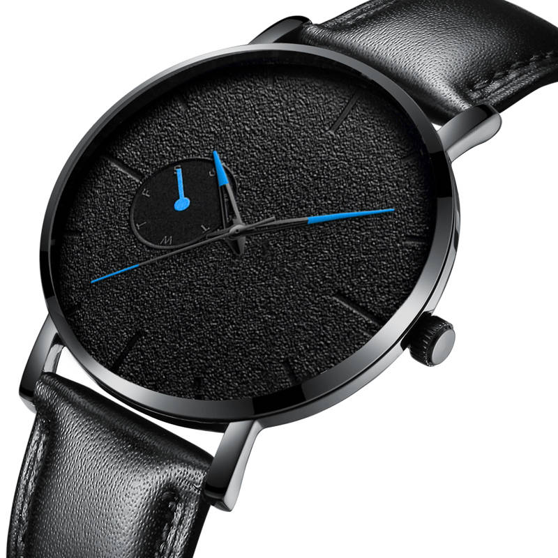 Minimalism Men Watches Ultra Thin Casual Brand Quartz Simple Blue Pointer WristWatch Leather Strap Business Relogio Masculino