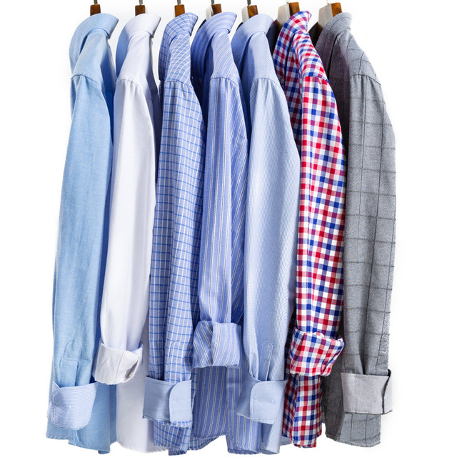 FGKKS  Business Men Dress Shirt Long Sleeve Solid Mens Work Shirts Fashion Square Collar Casual Male Tops