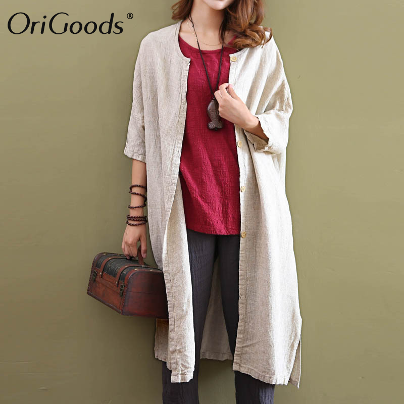 OriGoods Linen Long Blouse Women Plus size Long Shirt Linen Vintage Blouse Kimono style Loose Autumn Spring Long Shirt Tops C019