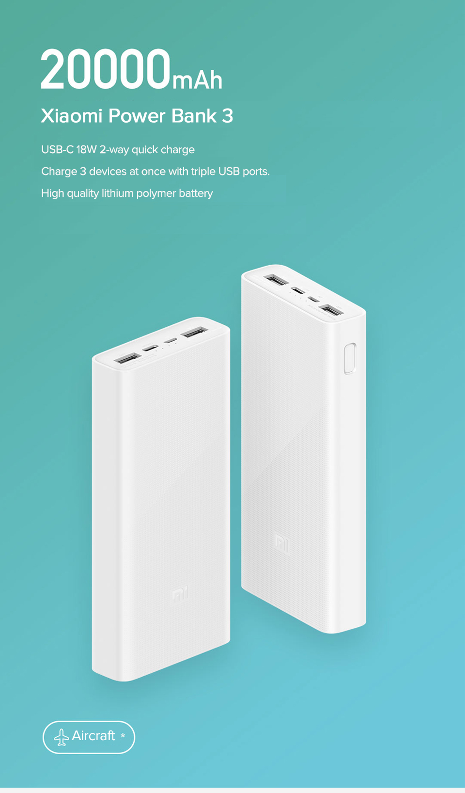 Xiaomi Power Bank 3 PLM18ZM 20000mAh 18W Two-way Quick Charge Type-C Micro Input Power Bank for iPhone 11 Pro XR X for Samsung