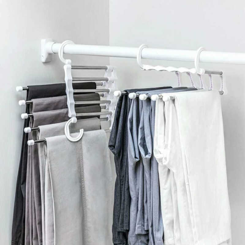 1PC 5 Tier Portable Multi-function Stainless Steel Clothes Hanger Pants Racks Trousers Hanger Clothes Storage Drying Hanger